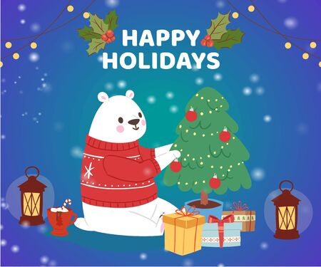 Christmas cartoon New Year polar bear in winter clothes with fir tree and gifts, greeting card design vector illustration. Winter happy holiday and merry christmas.