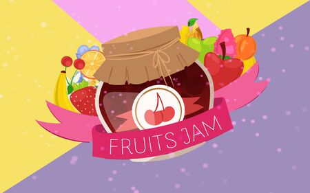 Fruit and berry Jam with rustic jar of jelly with paper cover and banner, marmalade cartoon vector illustration. Berries and fresh fruits jam poster for natural products shops.