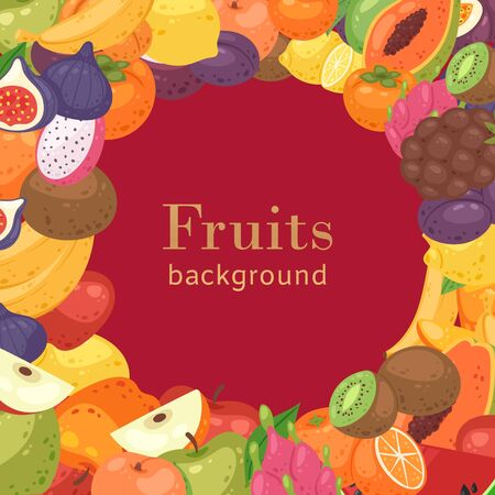 Summer tropical fruit cartoon vector illustration background with typography, kiwi, oranges, apples and papaya, carambola and passion fruit, fig, guava. Exotic fruits poster.