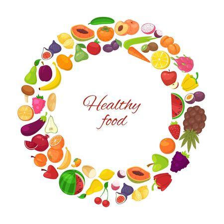 흰색 배경 벡터 일러스트 포스터에 격리된 원 안에 유기농 과일과 야채를 넣은 건강 식품. 채식주의 과일과 채소 다이어트 건강 식품 당근, 바나나, 오렌지, 레몬. 벡터 (일러스트)