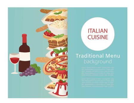 Italian cuisine food banner with cooking pizza, lunch pasta, spaghetti and cheese, desserts and wine vector illustration. Italian cuisine restaurant poster.