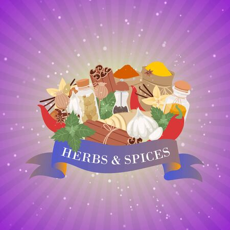 Spices and herbs for cooking and baking, winter home flavor ingredient for food condiments cartoon vector illustration. Mint leaves, cloves, pepper and herbs, ginger with banner on retro background.