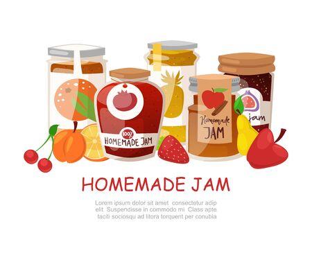 Hausgemachte Marmelade mit frischen Früchten und Beerenmarmelade mit rustikalen Geleegläsern mit Papierabdeckung, Marmelade-Cartoon-Vektorillustration. Beeren und frisches Obst hausgemachtes Marmeladenplakat für Naturproduktegeschäfte. Vektorgrafik