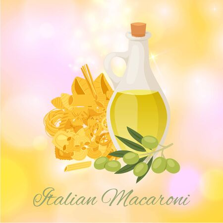 Italian macaroni with different types of pasta, spaghetti, ravioli and olive oil poster vector illustration. Italian macaroni cuisine restaurant, cooking course or cafe poster.