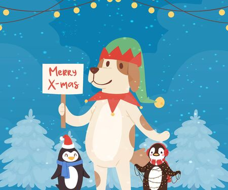 Merry christmas funny dog and penguins in red santa hats in winter forest, garlands cartoon vector illustration. Christmas animals characters for poster, greeting, postcard or greeting card. Illustration