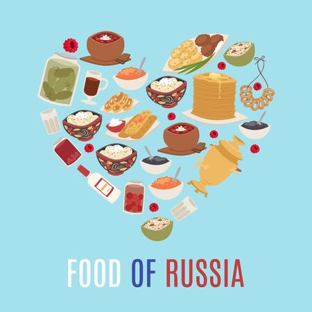 Russian cuisine and national food of Russia in heart shape form vector illustration with caviar, pancakes, borsch soup and vodka. Russian food banner for restaurant or cafe.