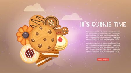 Cookies with jam, gingerbread, chocolate chip cookie, homemade biscuit vector illustration web banner. It s cookie time webpage for cafe, cooking classes and party banner. Çizim