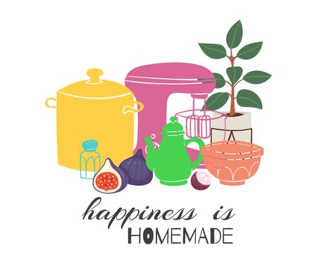 Happiness is homemade lettering with calligraphic font and decorated with kitchenware for cooking food vector illustration. Homemade poster with home utensils.