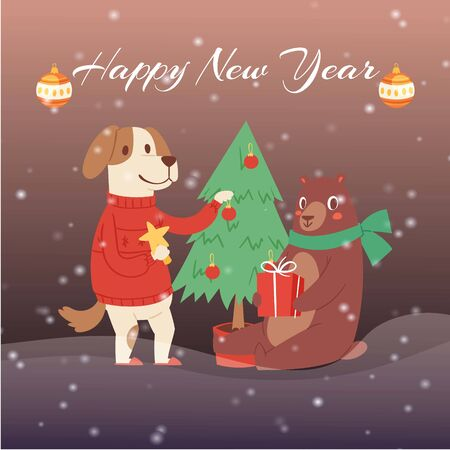 Happy New Year cartoon fir tree, bear and dog in winter clothes with gifts, greeting card design vector illustration. Winter happy new year holiday and merry christmas. Stock Vector - 138139051
