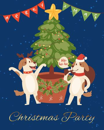 Merry christmas poster with funny dogs in red santa hats near Christmas tree, garlands cartoon vector illustration. Christmas character for poster, greeting, postcard or greeting card.