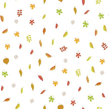 Autumn leaves seamless vector pattern. Cartoon illustration of various veined fall leaves isolated on white background. Autumn textile, wrapping for september or november. Ilustração