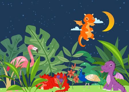 Cute dinosaurs in dino world with palm trees, exotic birds at night vector illustration. Prehistoric world for children s book with cute baby dragons. Dinosaur sleeping and flying in tropic plants.