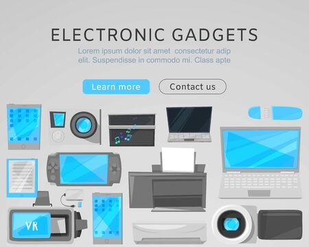 Electronic gadgets sale web vector template with modern devices. Computers, printer, VR device and tablet, notebook cartoon illustration. Landing for electronic gadgets or website.