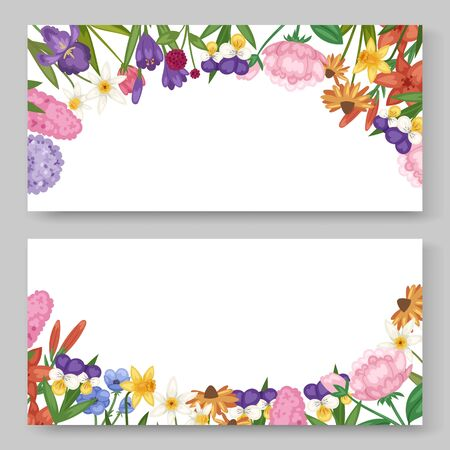Floral banners set with garden and field flowers vector ilustration. Field or garden flowers, anemone, peony and iris, wild florets in watercolor style. Summer flowers isolated on white background.