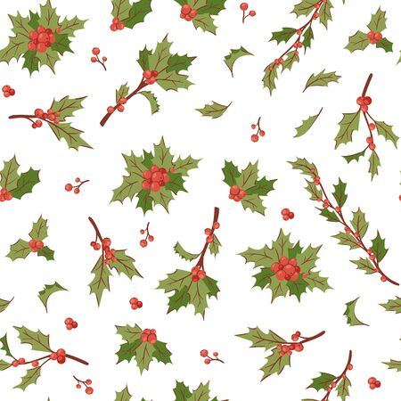 Christmas berry holly mistletoe leaves seamless vector pattern illustration for holiday background. Floral xmas and winter decor. Decorative christmas leaf traditional ornamental backdrop.