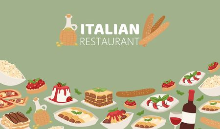 Italian restaurant food banner with pizza, lunch pasta, spaghetti and cheese, desserts and wine vector illustration. Italian cuisine restaurant poster.