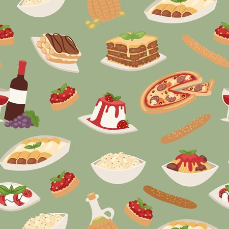 Italian food with cooking pizza, lunch pasta, spaghetti and cheese, desserts and wine seamless pattern vector illustration. Italian food cuisine restaurant background. Stock Illustratie