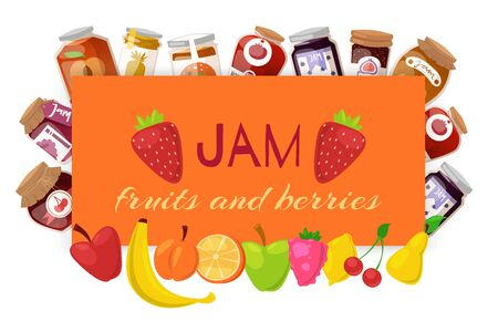 Orange jam with fresh fruits and berry Jam with rustic jars of jelly with paper cover, marmalade cartoon vector illustration. Berries and fresh fruits homemade orange jam poster for natural products shops.