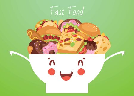 Fast food and snacks in cute funny smiling kawaii bowl vector cartoon illustration. Burger, pizza, popcorn, hot dog and donuts with cupcakes junk fast food poster in cute kawaii style.