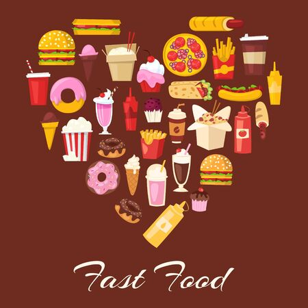 Fast food in heart shape vector illustration. Cartoon i love unhealthy burger sandwich, hamburger, pizza and hot dog, ice cream and french fries. Fast food restaurant meal love heart poster.