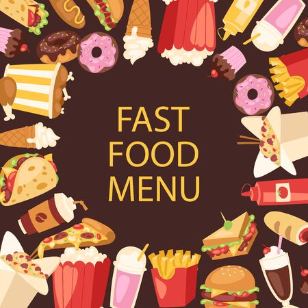 Fast food menu frame vector illustration. Cartoon unhealthy burger sandwich, hamburger, pizza and hot dog, ice cream and french fries. Fast food meal menu for restaurant cover or poster. Illustration