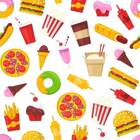 Fast food seamless vector pattern. Cartoon illustration of burger sandwich, hamburger, pizza and hot dog, ice cream isolated on white. Fast food meal restaurant menu cover or wrapping, textile.