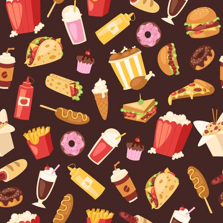 Fast food seamless vector pattern. Cartoon illustration of burger sandwich, hamburger, pizza and hot dog, ice cream and french fries. Fast food meal restaurant menu cover or wrapping, textile. Illustration