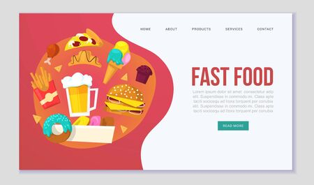 Fast food delievery vector illustration for web template. Cartoon illustration of burger sandwich, hamburger, pizza and hot dog, french fries. Fast food online order delievery for restaurant or cafe.