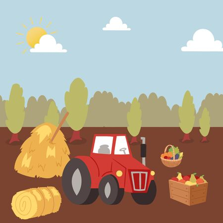 Harvesting autumn farm crops with tractor vector cartoon illustration. Agriculture and Farming. Farmers agribusiness. Rural landscape with tractor. Autumn harvest for print media poster or kids book. Foto de archivo - 138237218