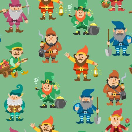 Fairy tale fantastic gnome seamless pattern, vector illustration. Background with dwarf elf character in poses. Magical leprechaun, fairy tale man with lantern, gnome with showel, crystals and gold.