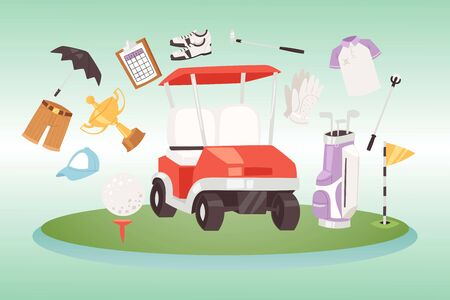 Golf and golfing sport design elements vector illustration. Ball and clubs, green area with hole and flag, trophy cup, sportive cloths, heraldic shield and golf car. Infographics for golf game.