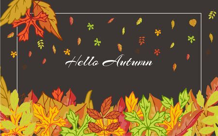 Hello Autumn banner with bright autumn birch, elm, oak, rowan and maple, chestnut, aspen leaves on black background vector illustration. Falling cartoon colorful leaves poster.
