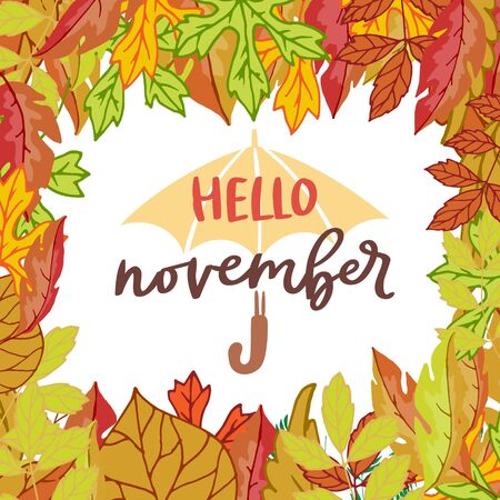 Hello november poster with bright autumn birch, elm, oak, rowan and maple leaves frame vector illustration with umbrella and lettering. Falling cartoon colorful leaves poster.