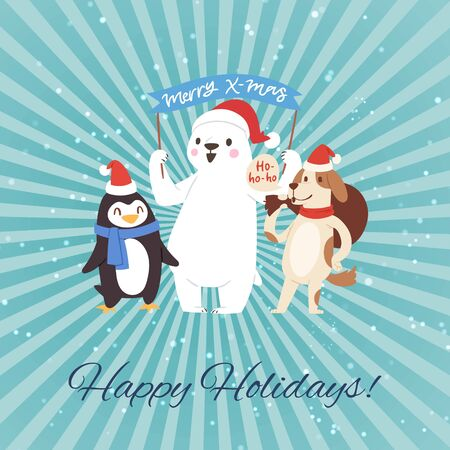 Christmas holidays party funny companion cartoon forest animals, dog, penguin and polar bear vector illustration. For retro vintage christmas posters, banners, sales and other winter holidays events.
