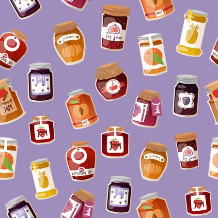 Homemade jam with fresh fruits and berry Jam with rustic jars of jelly, marmalade seamless pattern vector illustration. Berries and fresh fruits homemade jam background for natural products shops. Çizim