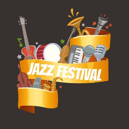 Jazz festival or party with musical instruments saxophone, electric piano and double-bass player and drums with banner inscription vector illustration. Jazz concert party black banner.