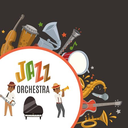 Jazz orchestra or jazzband with cartoon characters musician saxophonist and piano player and musical instruments poster vector illustration. Jazz orchestra concert party invitation. Illustration
