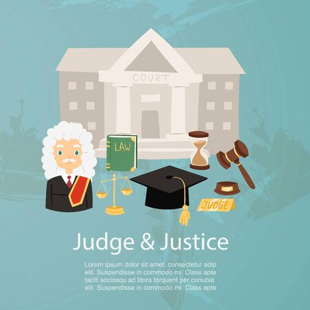 Judge man in judicial robe and wig, justice and court, law book and hummer cartoon character vector illustration. Justice infographics for website, poster, flyer.