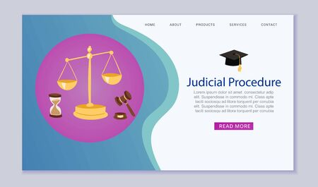 Judicial procedure, justice and court, law, scales and hummer website template vector illustration. Justice website or banner.