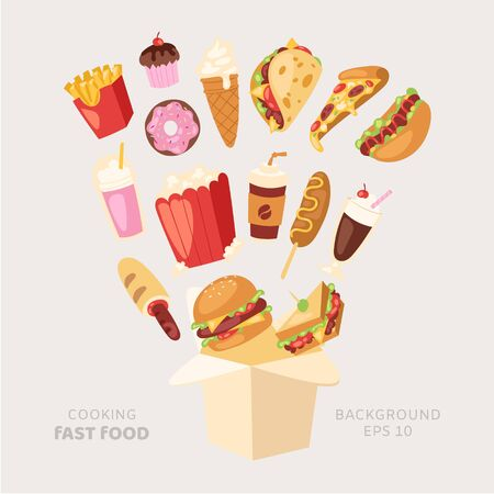 Fast food cooking vector illustration. Cartoon unhealthy burger sandwich, hamburger, pizza and hot dog, ice cream and french fries flying from box. Fast food meal restaurant delievery, snacks 10 eps.