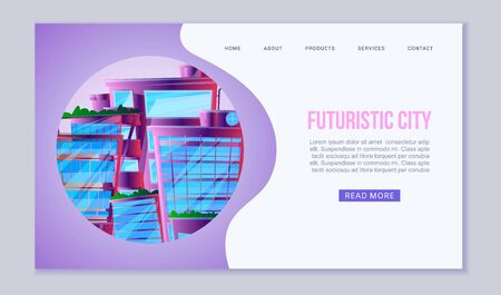 City of future web vector template. Amazing alien-look neon city scape with floating town, skyscrapers and roof greenery. Illustration of futuristic city website or landing. Иллюстрация