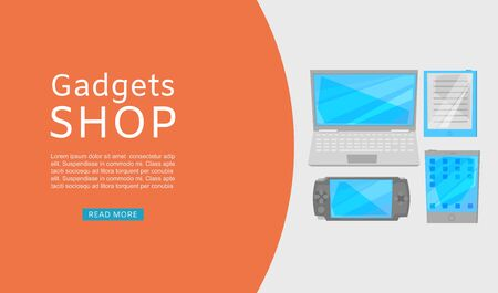 Electronics and gadgets promotional shopping sale web vector template. Illustration of laptop computer, gadgets and touch screen devices website. Online electronics store order landing page.