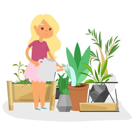 Girl watering plants at greenhouse or home garden vector illustration. Gardening home plants growing in pots. Young girl caring for houseplants. Cartoon style cacti, succulents and tropical leaves.