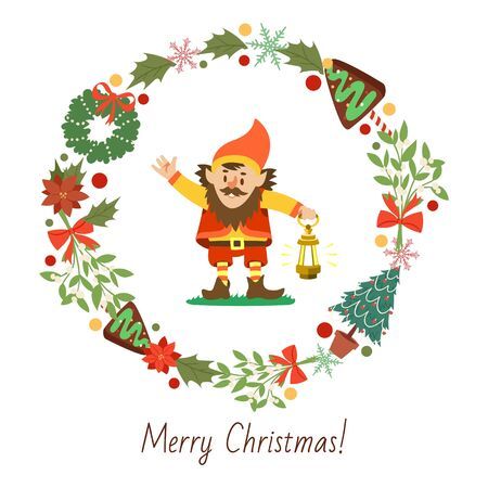 Nisser in Norway and Denmark, Tomtar in Sweden or Tonttu in Finnish, Scandinavian folklore elf vector illustration. Christmas wreath with elf or gnome isolated on white background. Merry Christmas Standard-Bild - 138237773