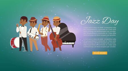 Jazz band with cartoon characters singer, saxophonist and double-bass player musicians web banner vector illustration. Jazz band concert party webpage. Illustration