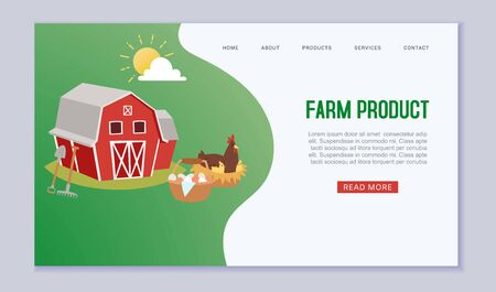 Organic farm products web vectortemplate with cartoon barn, chiken, eggs and harvest illustration. Agriculture and Farming. Farmers agribusiness. Rural organic products website or landing. Foto de archivo - 138238307