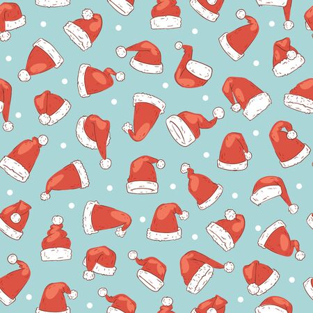 Santa Claus red hats seamless pattern for Christmas holidays print or wrapping, vector illustration. Christmas Santa clothes caps on blue snowy holiday background. Иллюстрация
