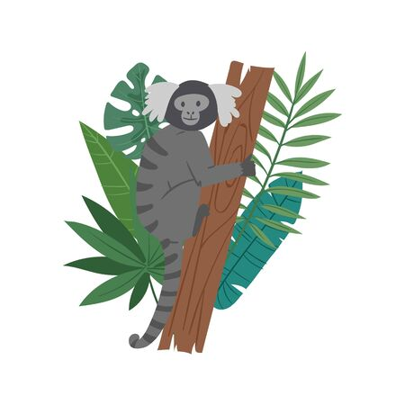 Monkey animal on tropical tree with palm monstera leaves vector illustration. Jungle exotic animal monkey on floral background isolated on white. Zoo advertisement or element.