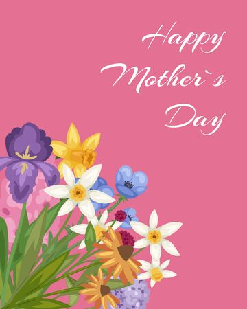 Happy Mothers day pink card with spring flowers blossom floral cartoon vector illustration and love inscription. Happy mothers day spring poster or postcard. Ilustracja