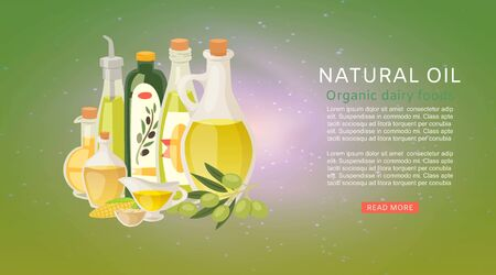 Natural organic oils with extra virgin olive oil and corn vegetable bottles with olives banner vector illustration. Natural oil in glass jars for healthy organic and vegeterian food store poster.